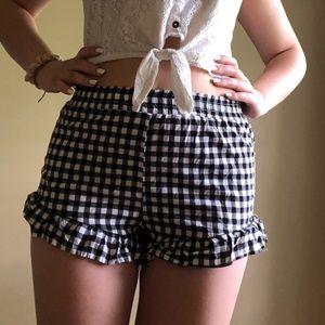 Checkered Ruffle Shorts